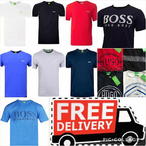 HUGO-BOSS-men-039-s-t-shirt-crew-neck-short-sleeve-pure-cotton-Various-sizes