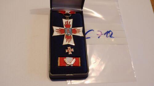 c712 Orden Feuerwehr Thüringen Ehrenkreuz golden am Band mit Etui mit Spange
