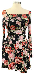MATERIAL-GIRL-size-M-black-floral-lined-mesh-long-sleeve-princess-neck-dress