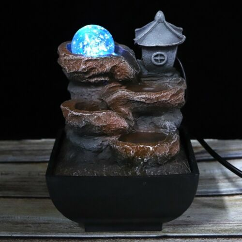 Desktop Water Fountain with LED Ball Light Table Ornament Office Home Decoration