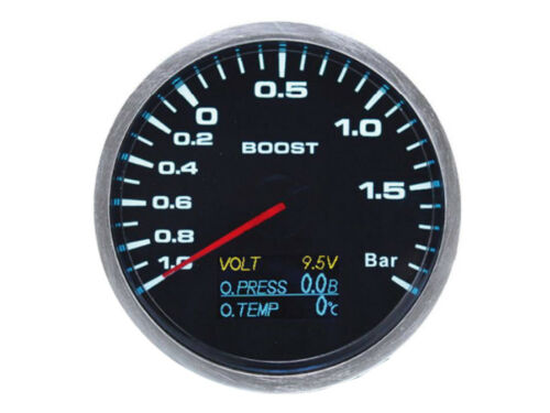 7 LEDs Color 60mm 4 in 1 Boost Gauge Turbo Volt Oil pressure /& Oil Temperature
