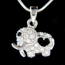 w Swarovski Crystal Holy Elephant Lucky Wish Good Luck Love Heart Charm Necklace