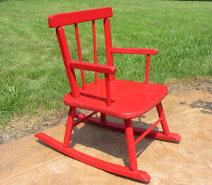 Excellent Details About Vtg Antique Wood Wooden Painted Red Rocking Chair Kid Child Toy Small Old Small Spiritservingveterans Wood Chair Design Ideas Spiritservingveteransorg