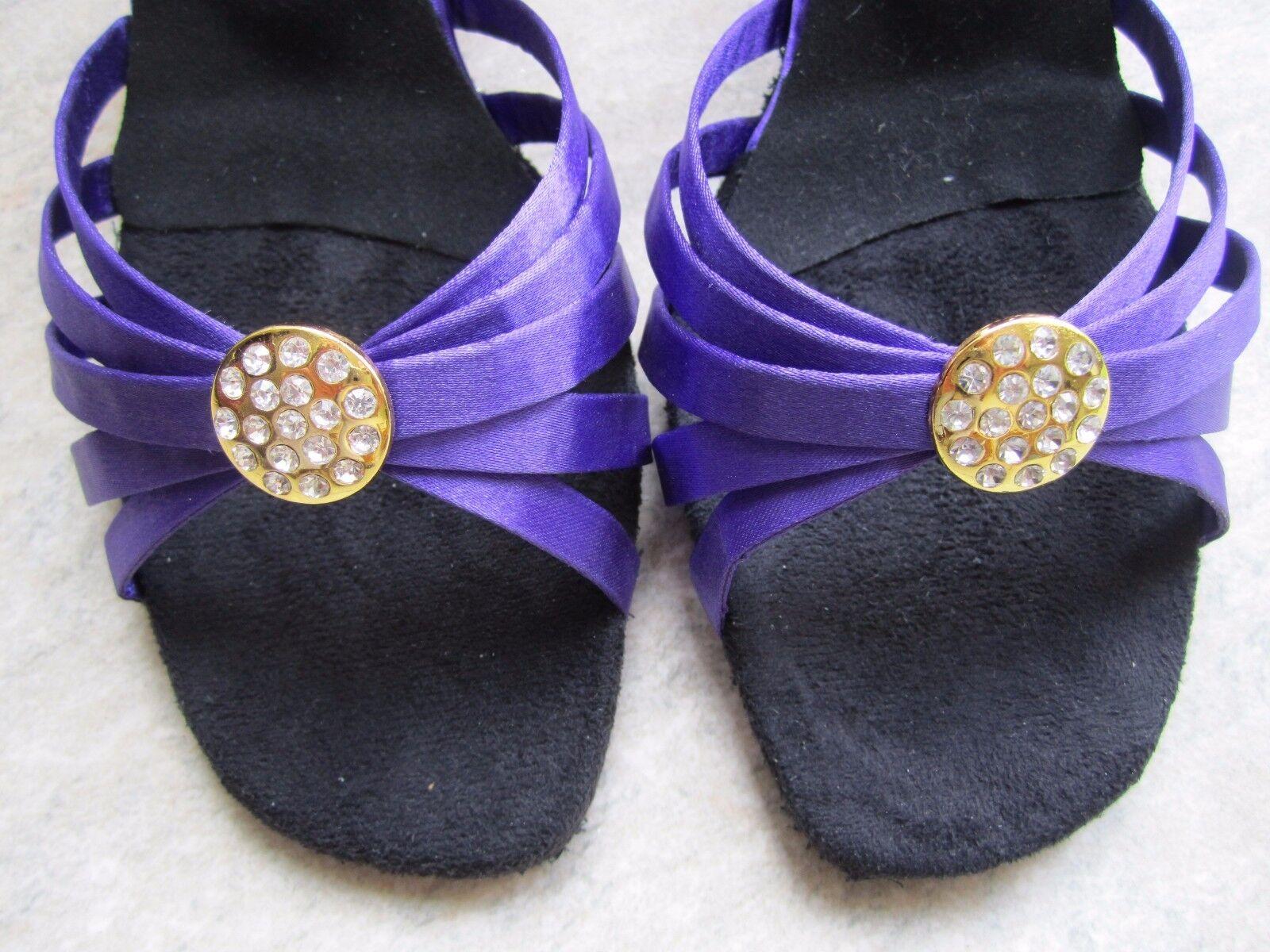 Ladies UK Size 6 Purple Satin Ballroom Sandals with 2.5