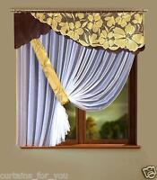Net Curtain Pelmet Brown White Marquisette Size 157''400 Cm X 67''170 Cm For You