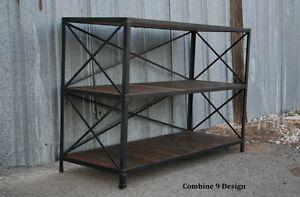 Vintage Industrial Shelving Unit Rustic Reclaimed Wood Mid Century Modern Ebay
