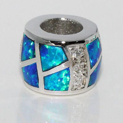 Silver Opal Bead European Charm Pendant CZ 925 Sterling Lab Created Blue w Fire