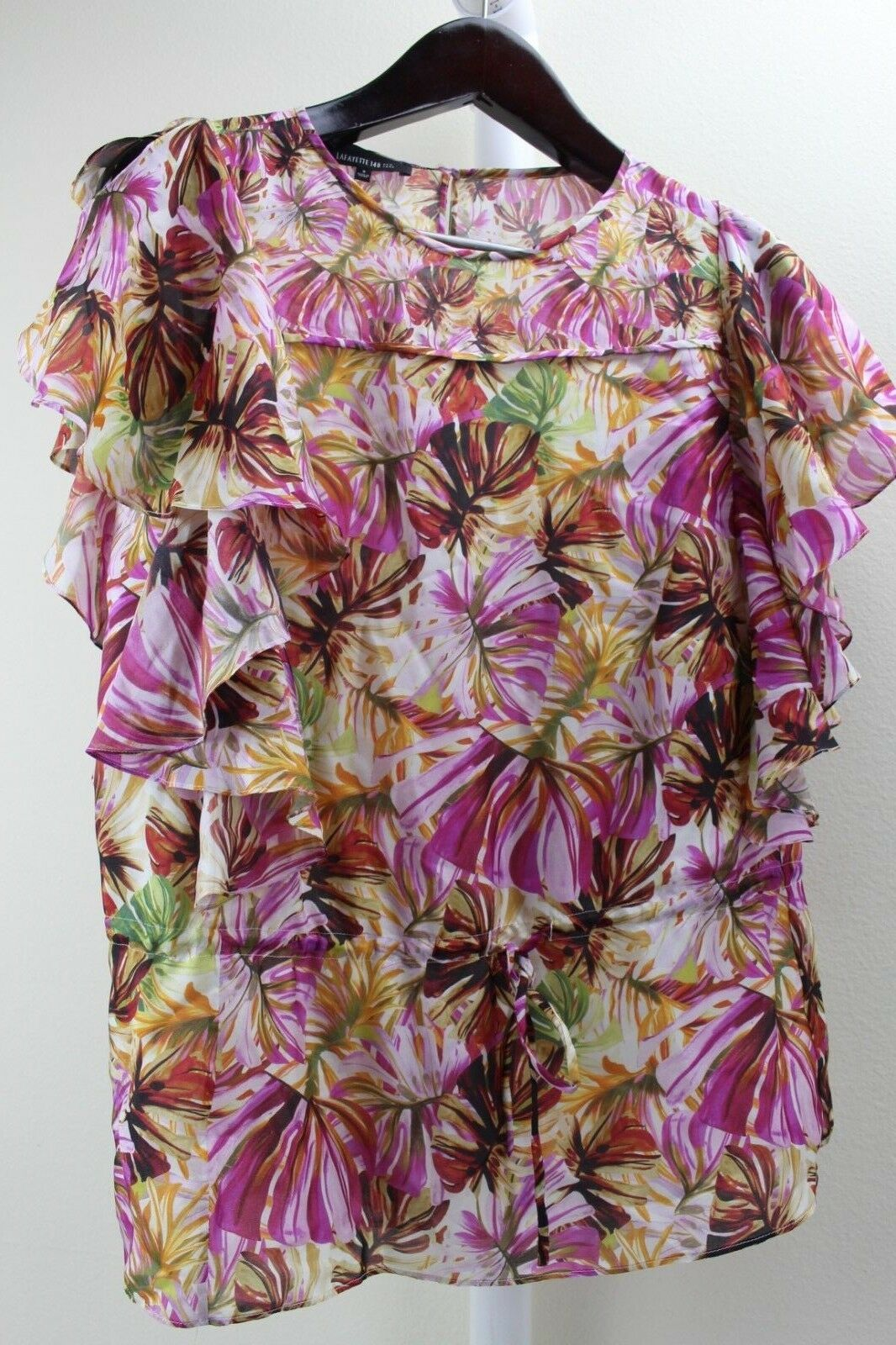 Lafayette 148 New York 100% Silk Floral Flutter Sleeves Lined Blouse Size Small