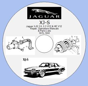 Jaguar XJS 3.6,5.3 V12 /& HE V12 Repair,Operations Manuals /& Parts Lists 1975-91