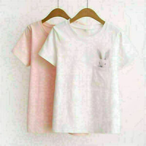 New-Women-Ladies-Cute-Loose-Casual-Short-Sleeve-T-Shirt-Cotton-Blouse-Top-S-XL