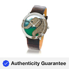 LeVian Time® Elephant Watch White/Black/Chocolate Diamonds® Stainless Steel