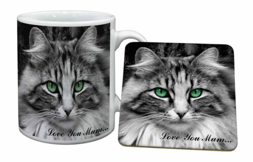Beautiful Cat 'Love You Mum' Mug+Coaster ChristmasBirthday Gift Idea, AC5lymMC