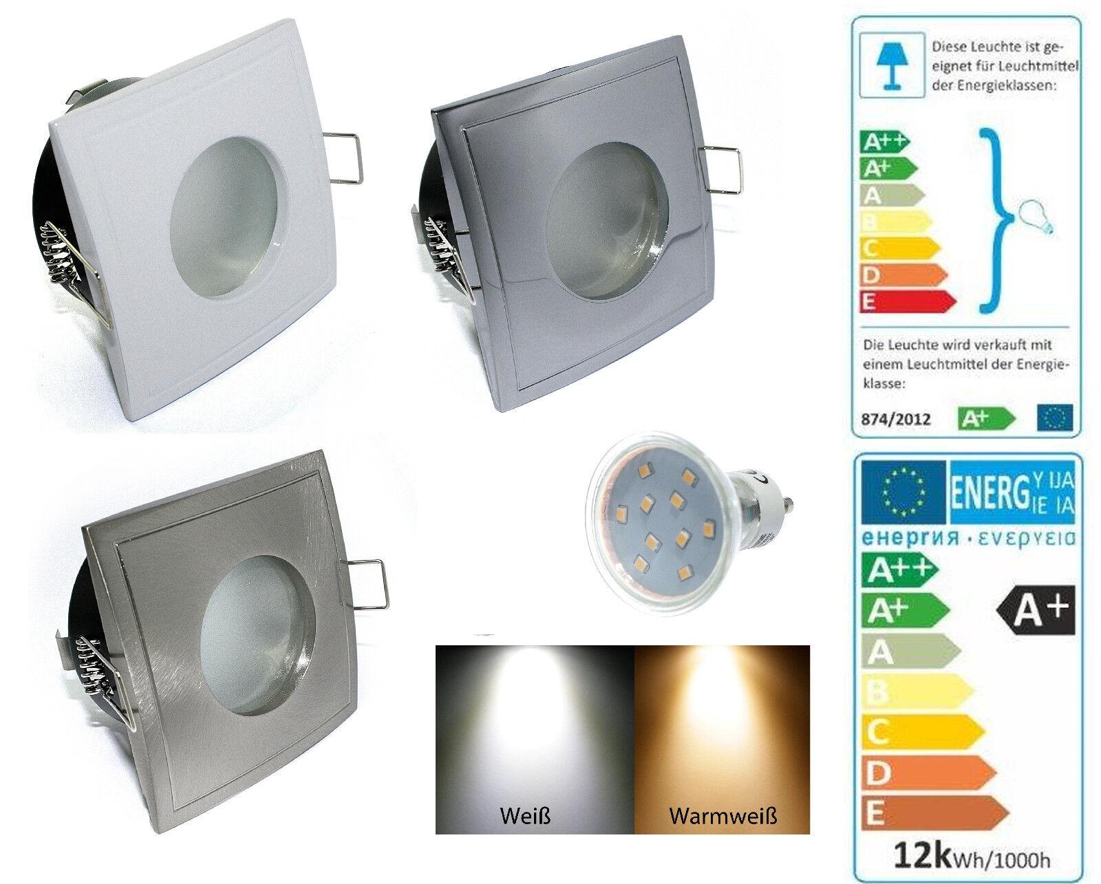 InsDimensionezione a soffitto Lampada Aquarius-S rettangolare gu10 230v 10er SMD LED 3w = 25w ip65