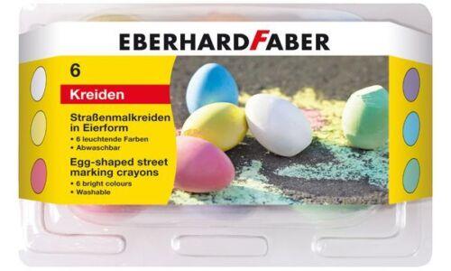 6x EBERHARD FABER Straßenmalkreide in Eierform  weiß gelb rot lila blau grün