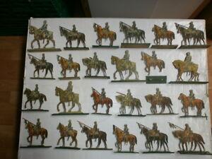 Konvolut-24-Ancienne-Papier-Bois-Soldats-Preussen-Cavalerie-Lanzenreiter-a
