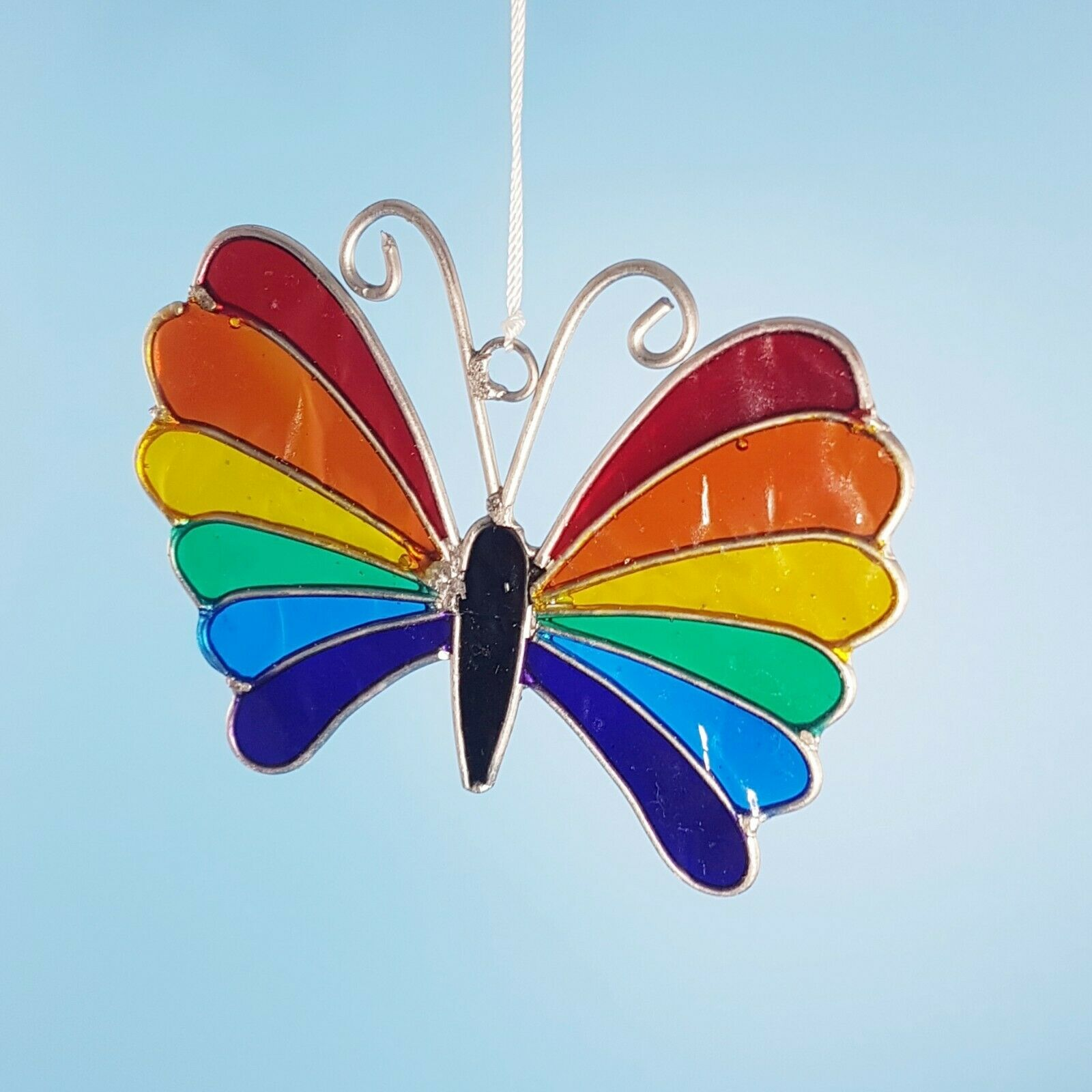 Rainbow butterfly mini sun catcher mobile stain glass effect garden decor gifts