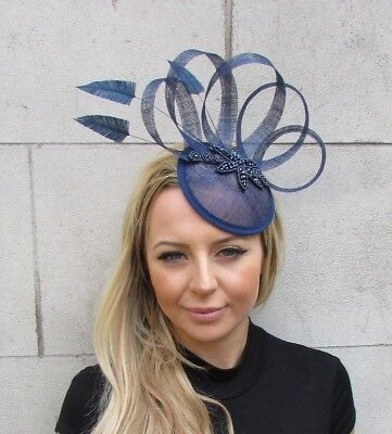 Coral Gold Sinamay Feather Pillbox Hat Hair Fascinator Wedding Races Ascot 5175