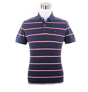 Tommy-Hilfiger-Men-Short-Sleeve-Custom-Fit-Stripe-Pique-Polo-Shirt-0-Free-Ship