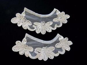 VINTAGE 1940'S WHITE SILK RIBBON AND COTTON NET CUFFS 5 1/2 INCH LENGTH