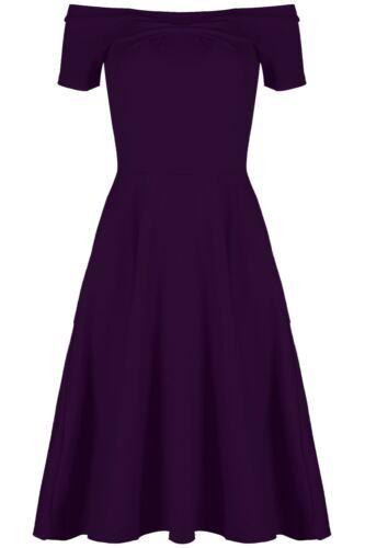 Womens Off Shoulder Bardot Swing Dress Ladies Flared Stretchy Midi Skater Dress