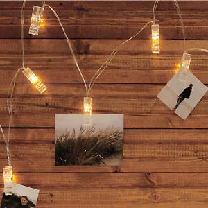 Lichterkette-034-Foto-Clip-034-mit-10-LEDs-als-Waescheklammern-10-Clips-Bilder-Fotos