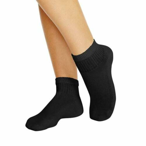 Hanes Women Socks Ankle Athletic 10 Pack Cushioned Black or White Cotton