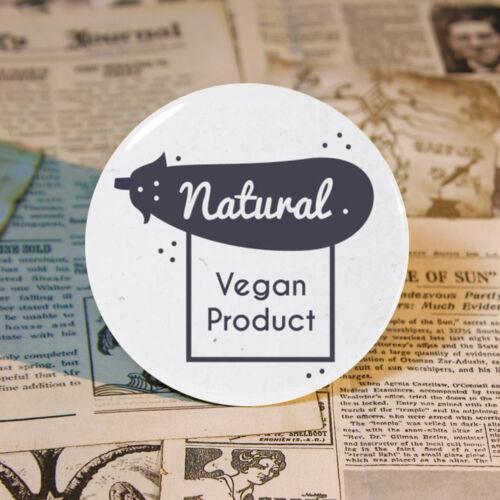 "58mm Pin Badge Decor Tinplate Brooch Backpack Vegan 2.2/"" VEGETARIAN"