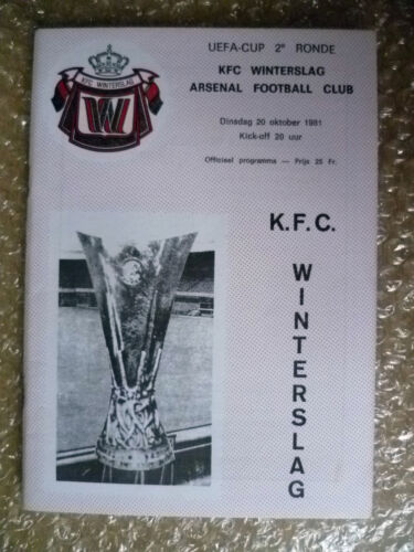 1981 UEFA Cup Match KFC Winterslag v Arsenal, 20 October
