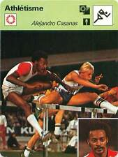 FICHE CARD: Alejandro Casañas (au 1-er plan) CUBA 110 m haies Athlétisme 1970s