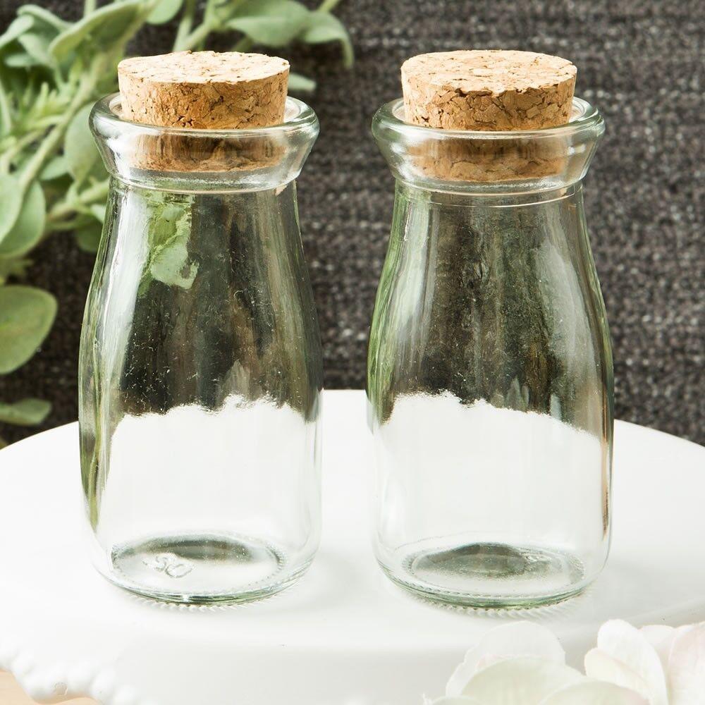 96 vintage en verre à remplir Bouteilles de lait Robe de Mariage Baby Shower Party Favors