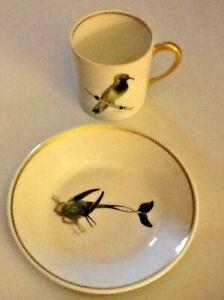 Berry-Haute-Compagnie-Nationale-de-Porcelaine-Demitasse-Cup-Limoges-Birds-Bird