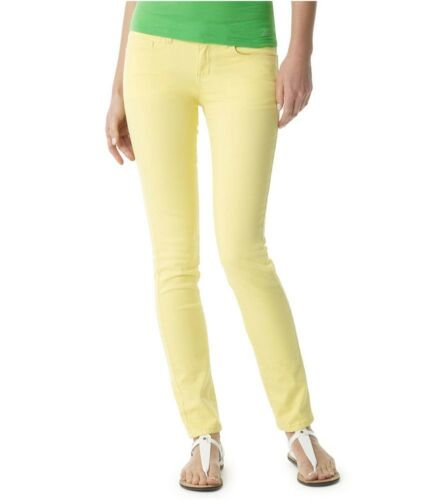 Aeropostale Womens Ashley Solid Ultra Neon Woven Skinny Fit Jeans