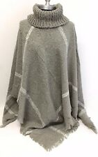 Women's Poncho Batwing Style Knit Top Cape Sweater Coat Outwear Soft Gray/White