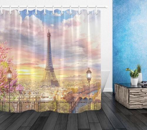 Beautiful Paris Balcony Scenic Eiffel Tower Waterproof Fabric Shower Curtain Set