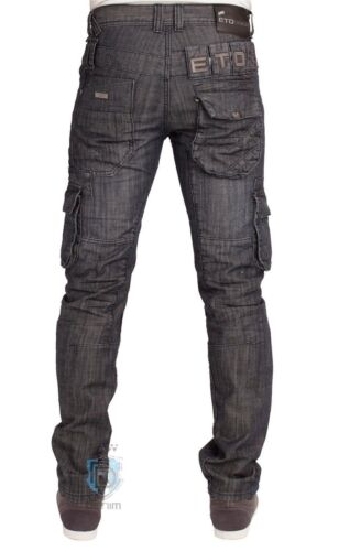 MENS EM408 COMBAT STYLE DARK WASH JEANS LATEST FUNKY DESIGN 30 TO 38 RRP £44.99