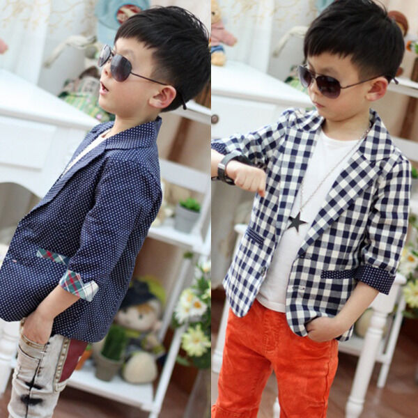 Stylish Toddlers Boys Plaid Check Dots Casual Suit Jacket Coat Costume 2-7Y