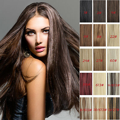 7 PCS/SET 100% REAL CLIP IN HUMAN HAIR EXTENSIONS ALL COLOURS LENGTH