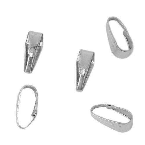 Bélières Attache Pendentif  9mm x 3.5mm Métal argenté LOT de 100 ou 200