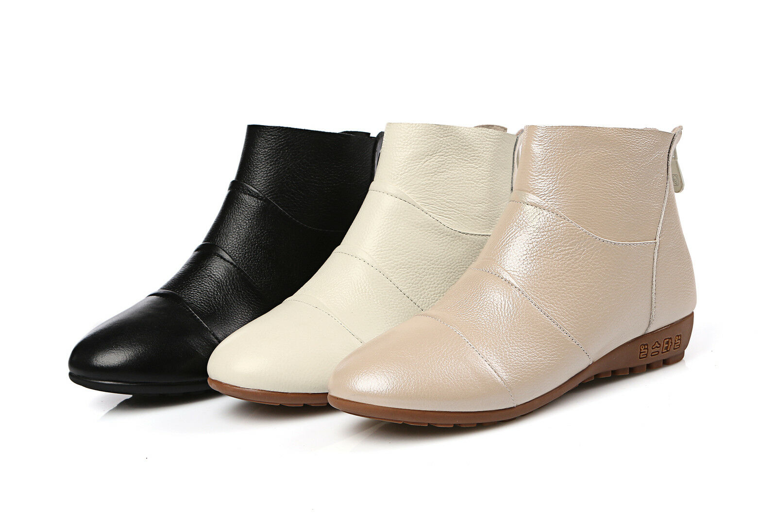 Ladies Casual shoes Genuine Leather Flats Low Heels Zip Ankle Boots US Size