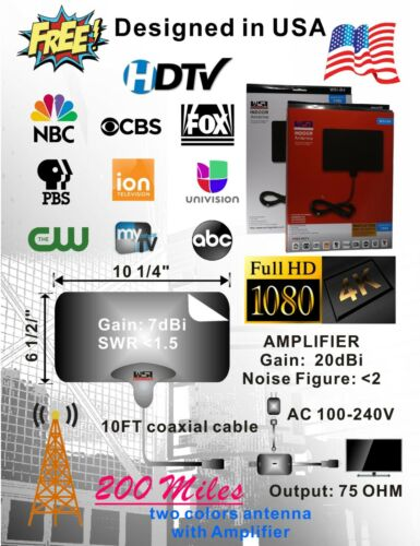TV Flat Antenna,100 mile HDTV 1080P  B4//Amplified,design in USA,Free channels