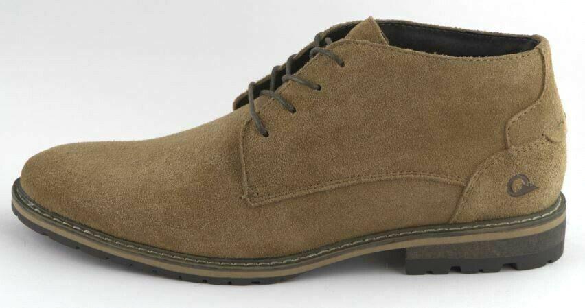 Men's Khaki Leather Fashion Casual 4 eyelet tie Ankle Boot Sizes to