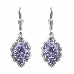 Drop-Dangle-Earrings-925-Sterling-Silver-Platinum-Plated-Blue-Tanzanite-Jewelry