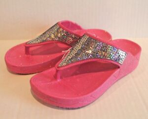 997431624131 Girl s Pink Wedge Flip Flops Sandals with Silver Sequins Girl Size 1 ...