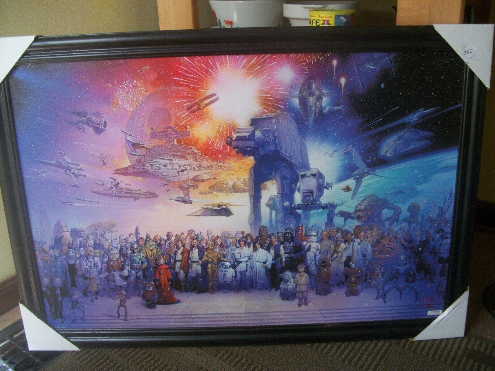 directo de fábrica Estrella Wars Wars Wars Galaxy Lienzo 26X37 Enmarcado. Perfecto Estado    diseño simple y generoso