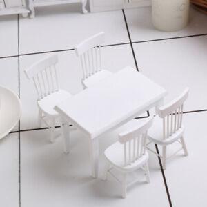 1-12-Esstisch-Stuhl-Modell-Set-Puppenhaus-Miniatur-Moebel-Weiss
