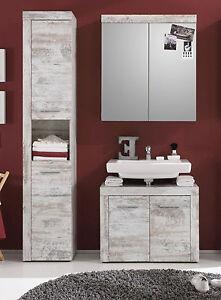 Das Bild Wird Geladen Badmoebel Badezimmer Set Weiss Pinie Shabby  Chic Spiegelschrank
