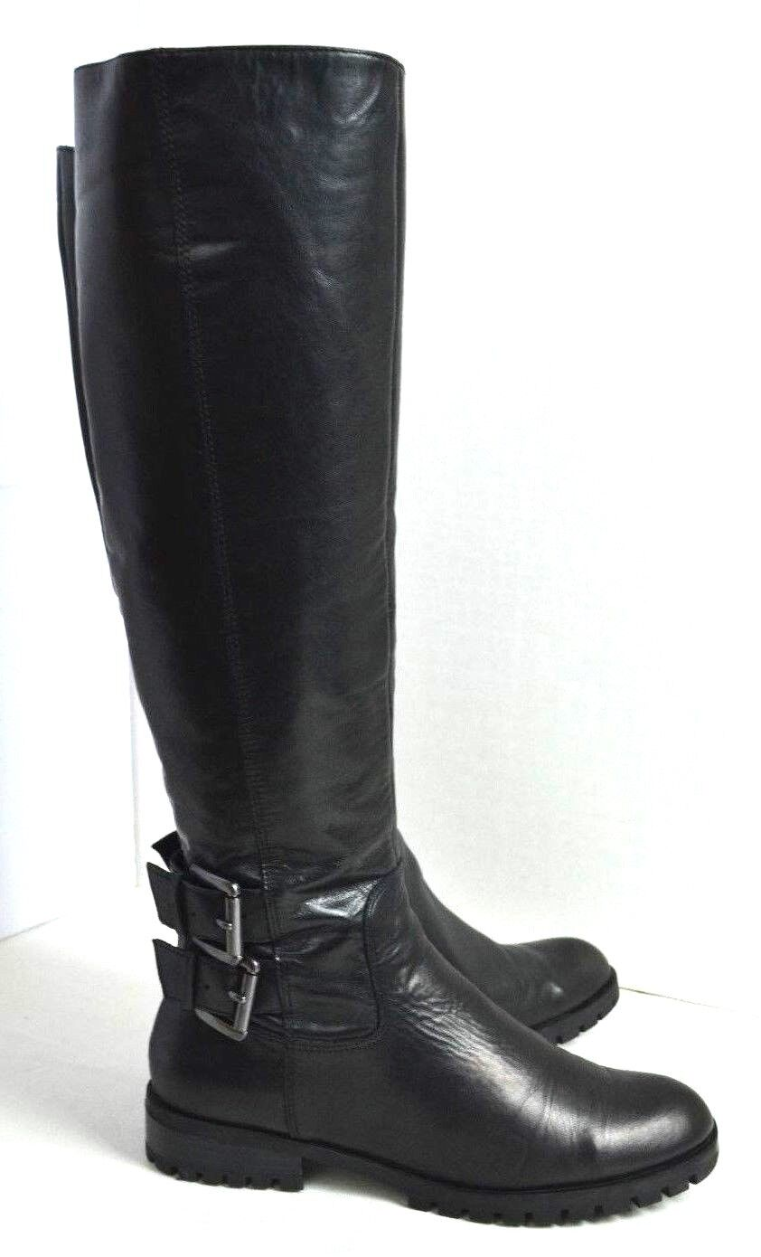 Enzo Angiolini Size 6 M  Black Leather Knee High Boots EXCELLENT Womens FLAT