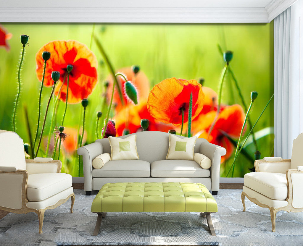 3D Beautiful Wildflowers Wall Paper Print Decal Wall Deco Indoor wall Mural