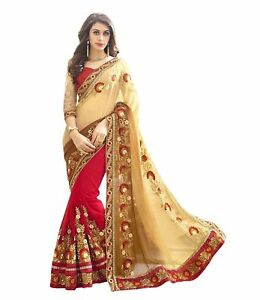 7a799f1396 Image is loading Designer-Red-Georgette-Embroidered-Saree-Sari-with-Blouse