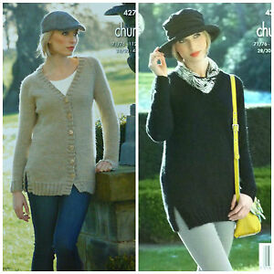 KNITTING-PATTERN-Ladies-V-Neck-Long-Jacket-amp-Jumper-Chunky-King-Cole-4275